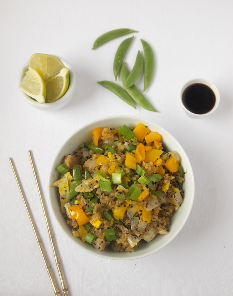 This healthy and vegetarian version of a fried rice made with quinoa is a great way to upgrade this tasty dish.